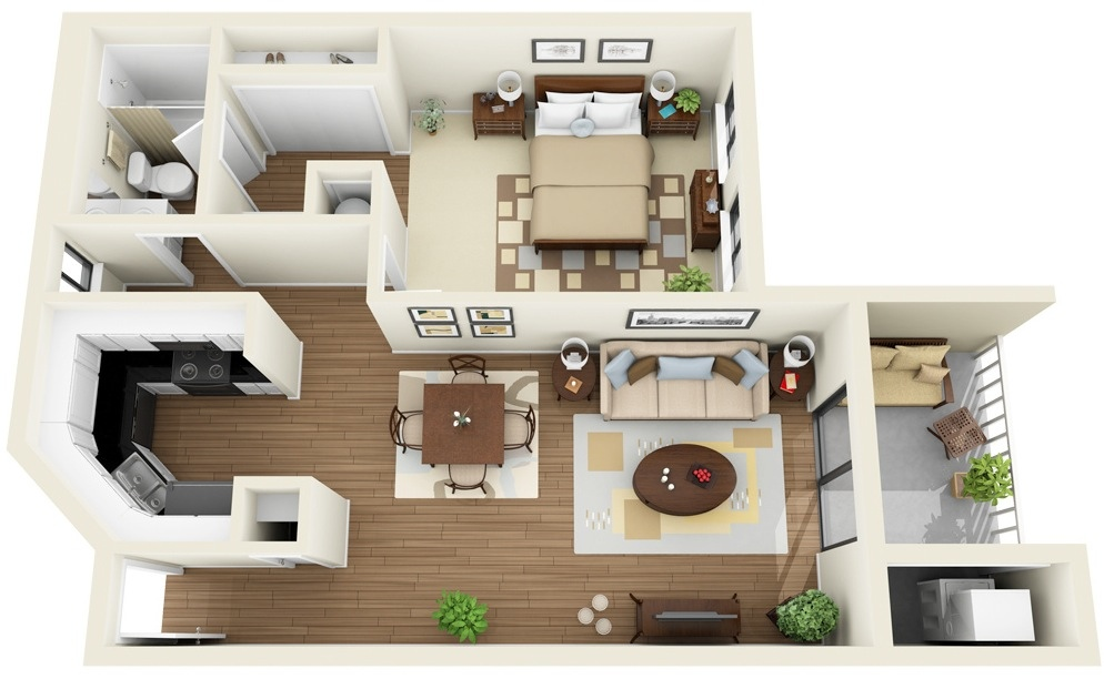 This Contemporary One Bedroom Apartment Has A Small Balcony, Functional  U Shaped Kitchen,