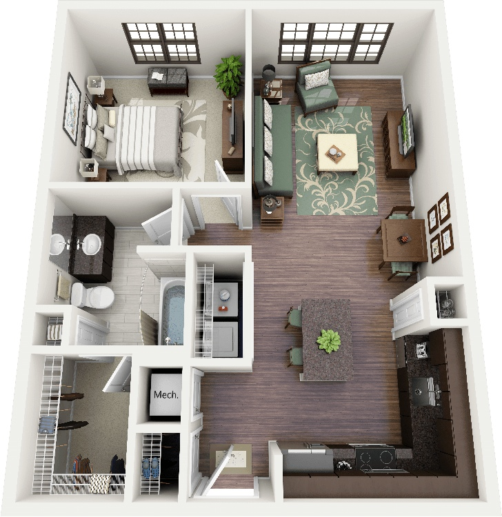1 bedroom apartment house plans for Plan appartement 3d