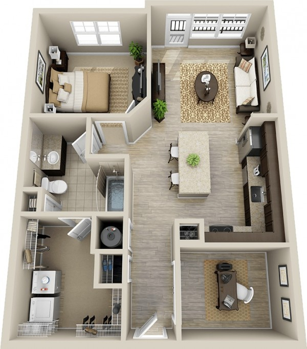 One Floor Apartments 1 bedroom apartment/house plans