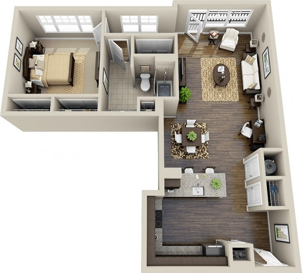 Small Apartment Kitchen Floor Plan 1 bedroom apartment/house plans
