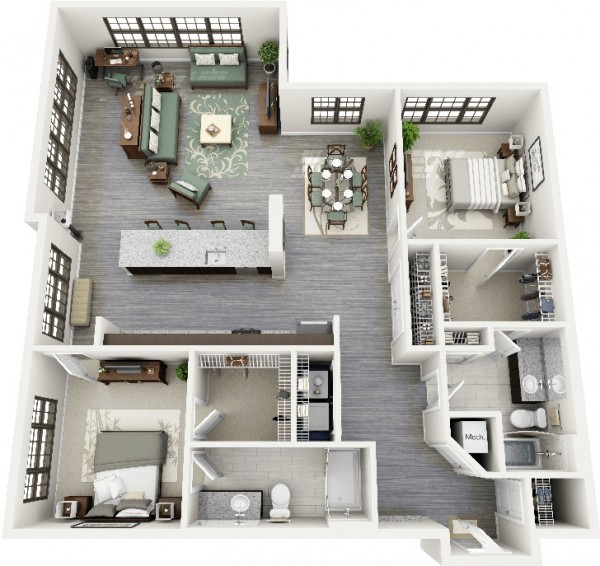 2 bedroom apartment house plans for Studio apartment design 3d