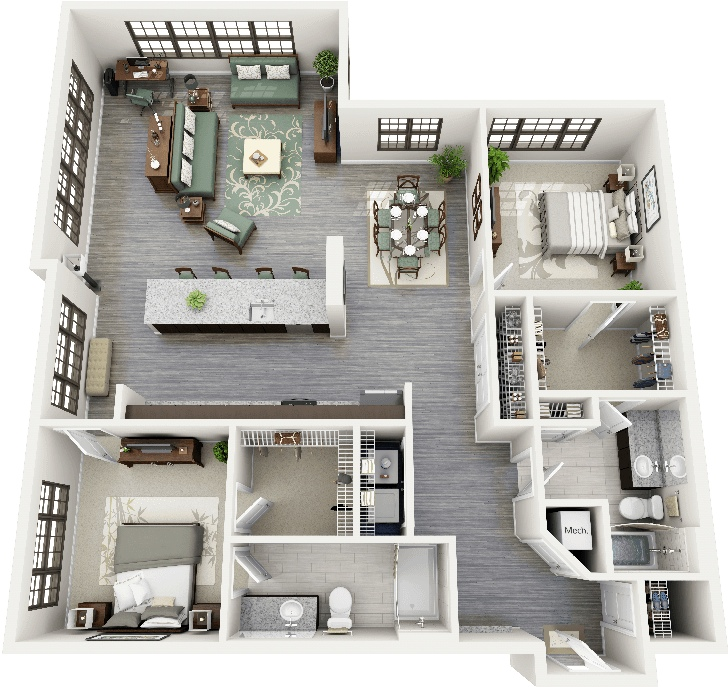 """50 Four """"4"""" Bedroom Apartment/House Plans Bedroom"""