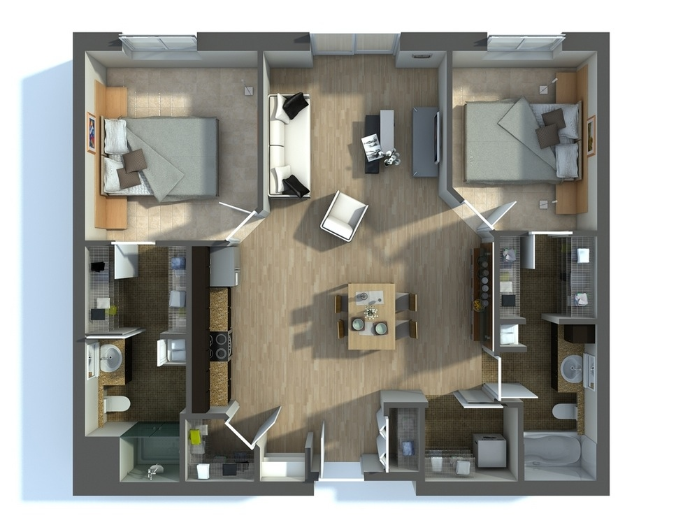 2 bedroom apartment house plans for 2 bathroom apartment