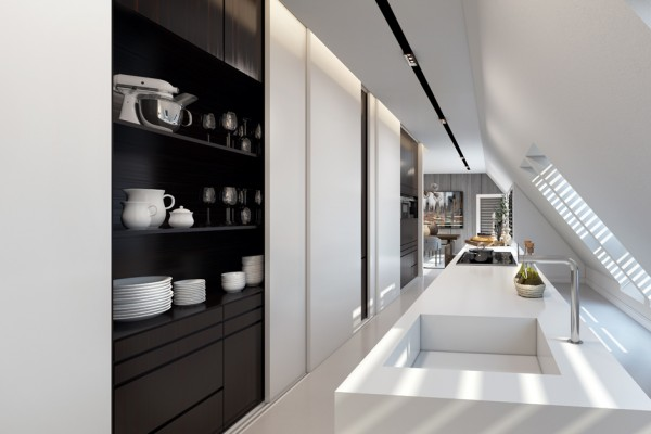 The kitchen highlights open shelving units, hidden pantries, and clean, uncluttered surfaces.