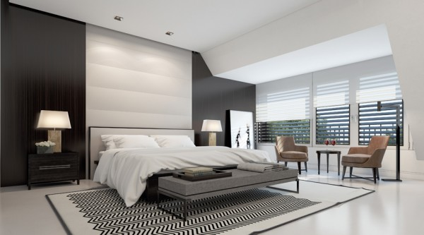 The master bedroom feels airy and spacious with lots of windows for natural light, high ceilings, and a simple yet sophisticated layout of furnishings. Wood paneling on the wall behind the bed gives warmth to this modern space.