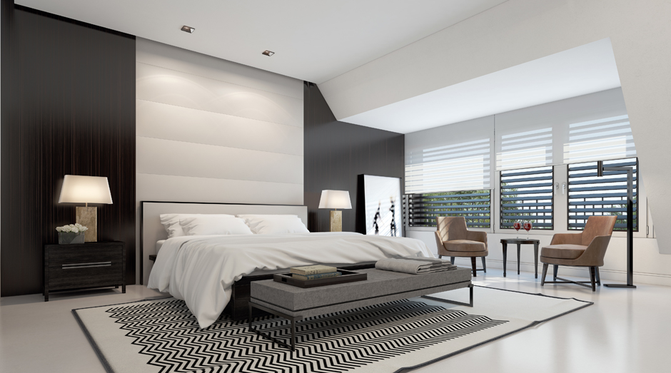 Smoking hot penthouse interior designs visualized for Chambre noir et blanc