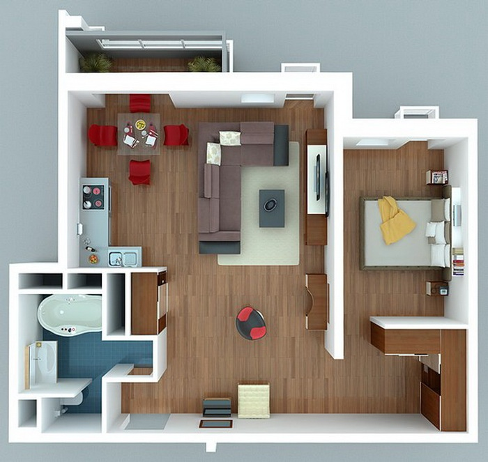 1 bedroom apartment house plans for One room apartment interior design