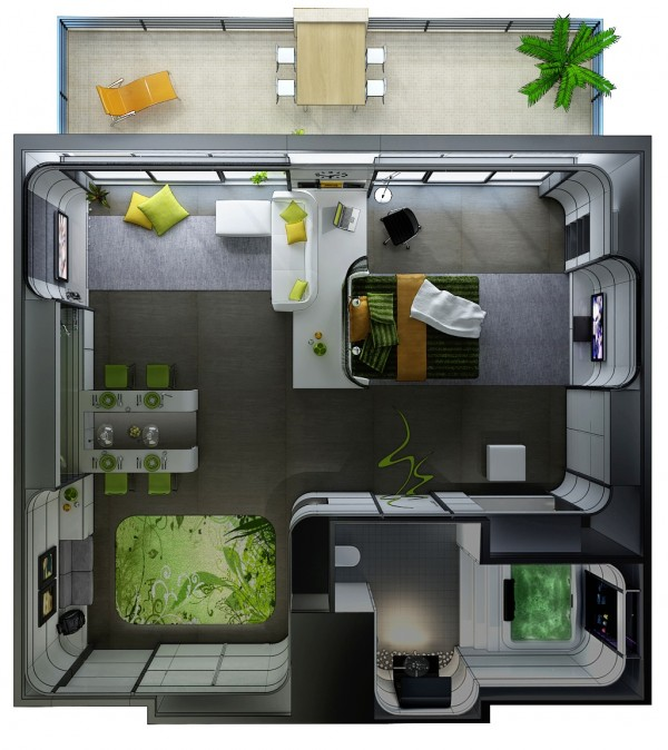 Studio apartment floor plans - One room apartment design plan ...
