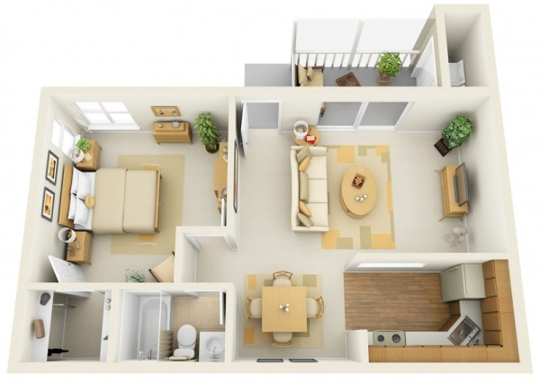 This one bedroom floor plan shows off modern design elements like crisp hardwoods and an open flow. There's ample closet and kitchen storage, plus a charming balcony and separate laundry.