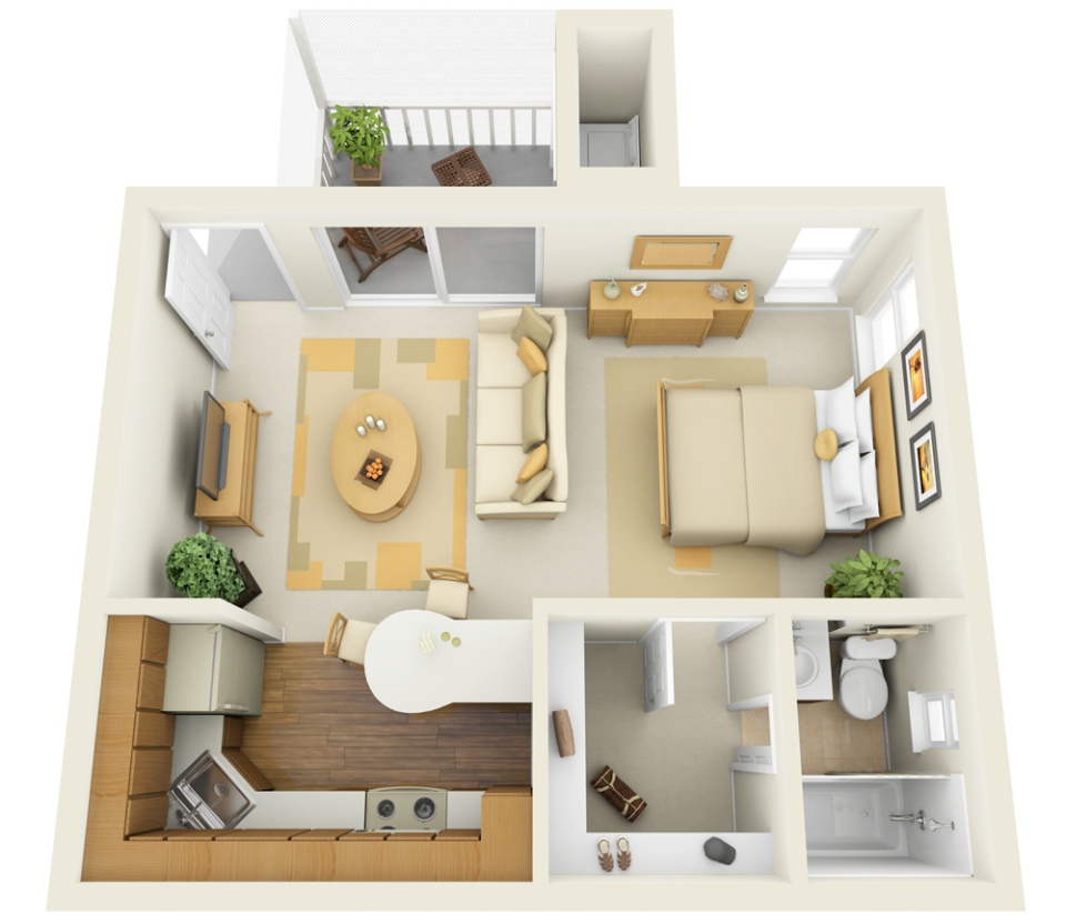 Studio apartment floor plans Very small apartment design