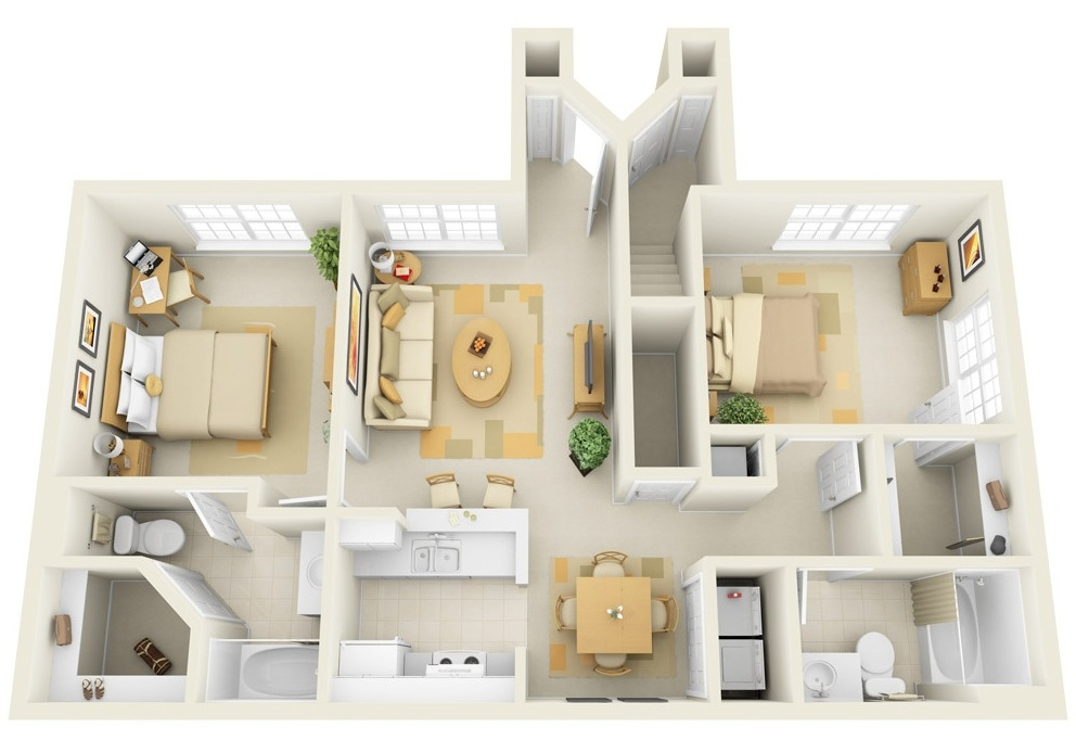 Superior Two Bedroom Apartment Plan #8: Interior Design Ideas