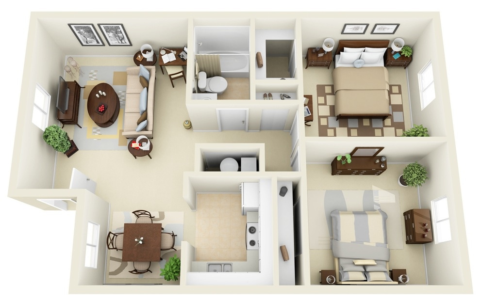 2 bedroom apartmenthouse plans - 3d Home Floor Plan