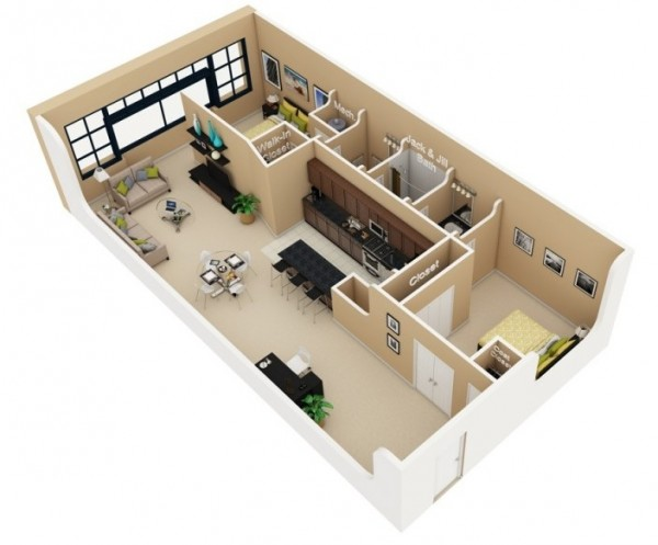 Designeer Paul 2 Bedroom Apartment House Plans