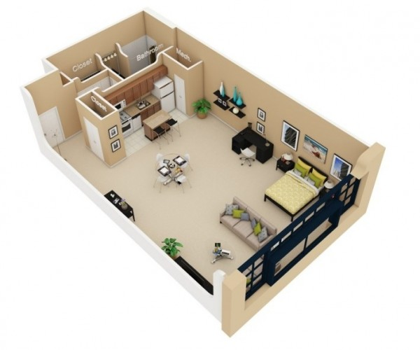 2 Bedroom Studio Apartment Plans