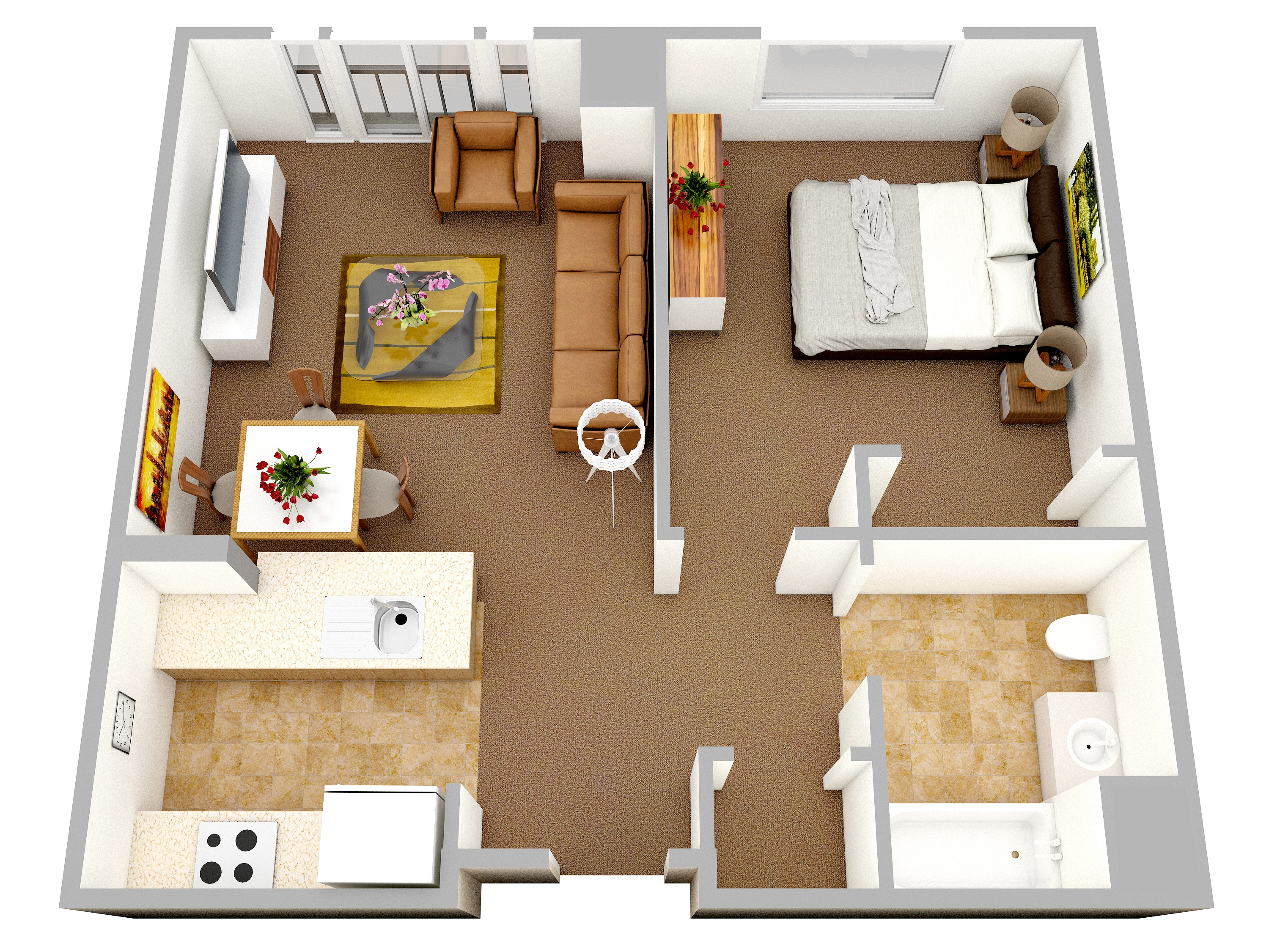 1 bedroom apartment house plans for One bedroom apartment design plans