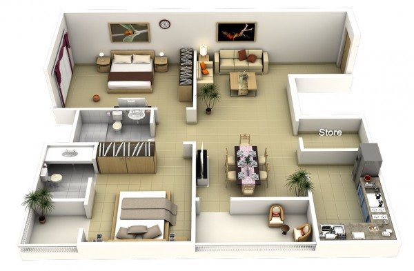2 bedroom apartment house plans for Large apartment floor plans