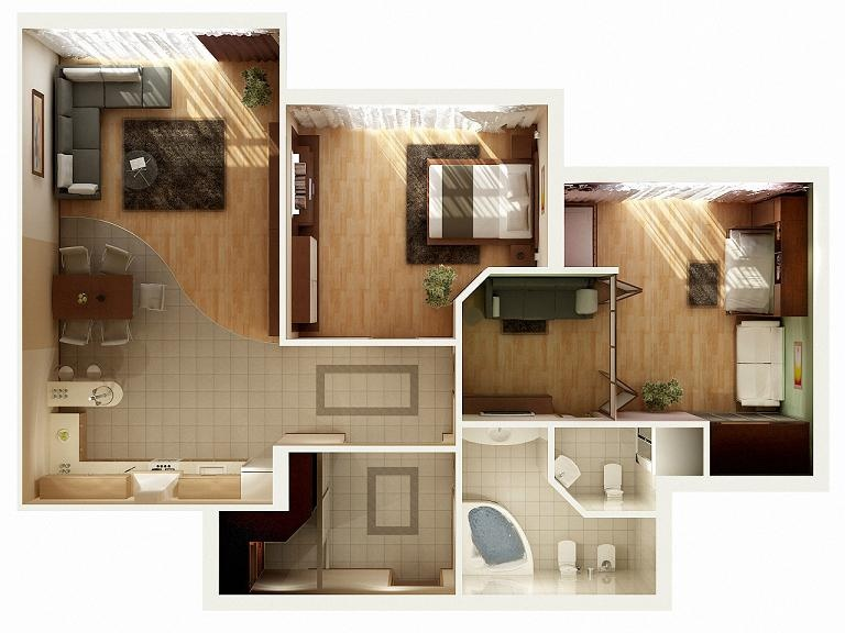 2 bedroom apartmenthouse plans - Large Living Room House Plans