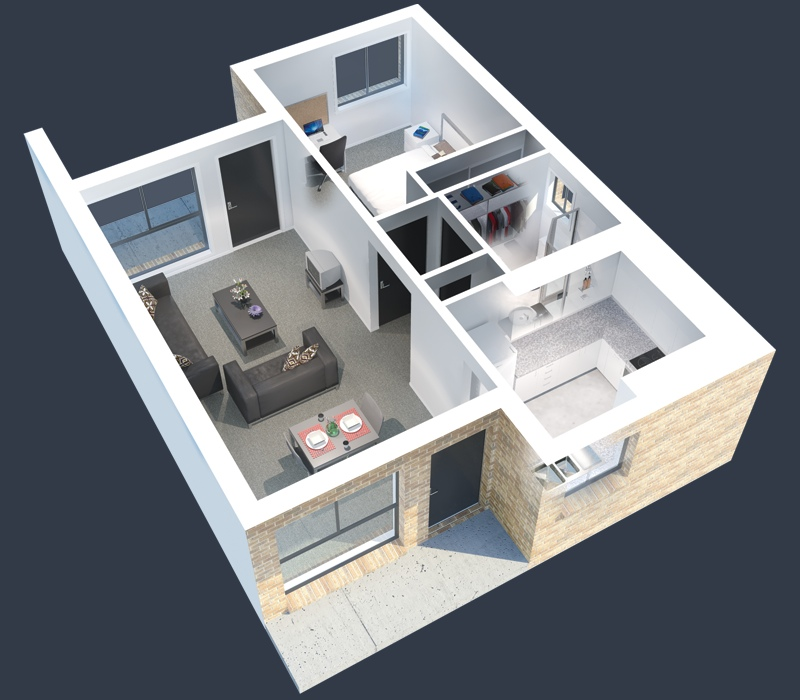 1 bedroom apartment house plans - Distribucion piso 60 m2 ...