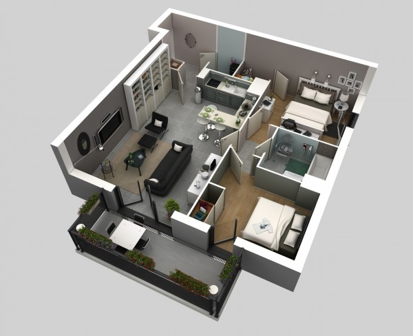 The sophisticated man will love the charcoal walls, hardwood floors, and modern kitchen of this two bedroom, one bathroom apartment visualization.