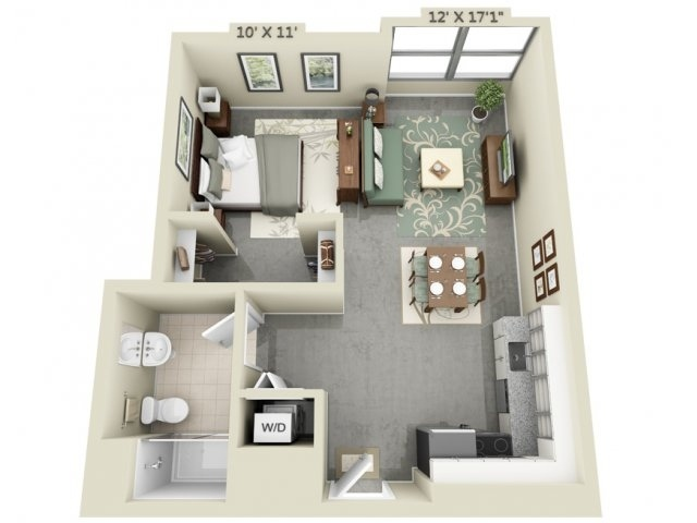 Studio apartment floor plans for One bedroom efficiency apartment plans