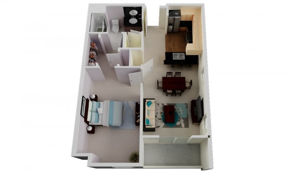 With the same amenities as the previous apartments, this design offers a great look and feel, only with more square footage and an adorable balcony.