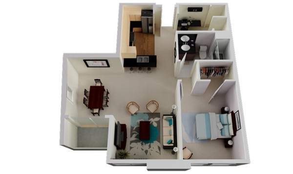 With a dedicated workspace, comfortable room sizes, and luxury furnishings, this one bedroom and one bathroom apartment is a great fit for any young professional.