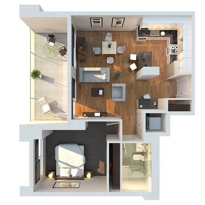 1 bedroom apartment house plans for Small one bedroom apartment floor plans