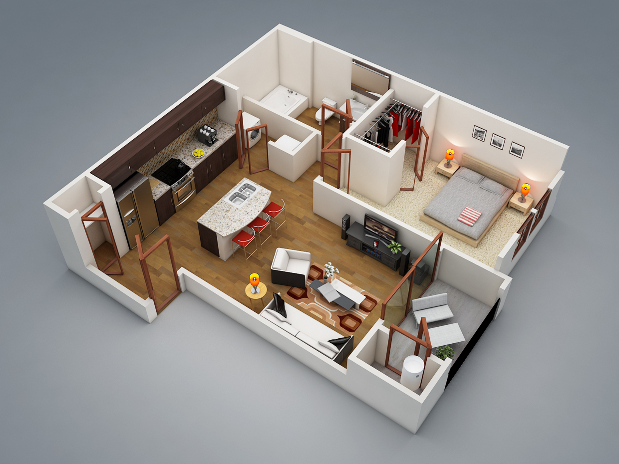 1 bedroom apartment house plans for 3d house plans