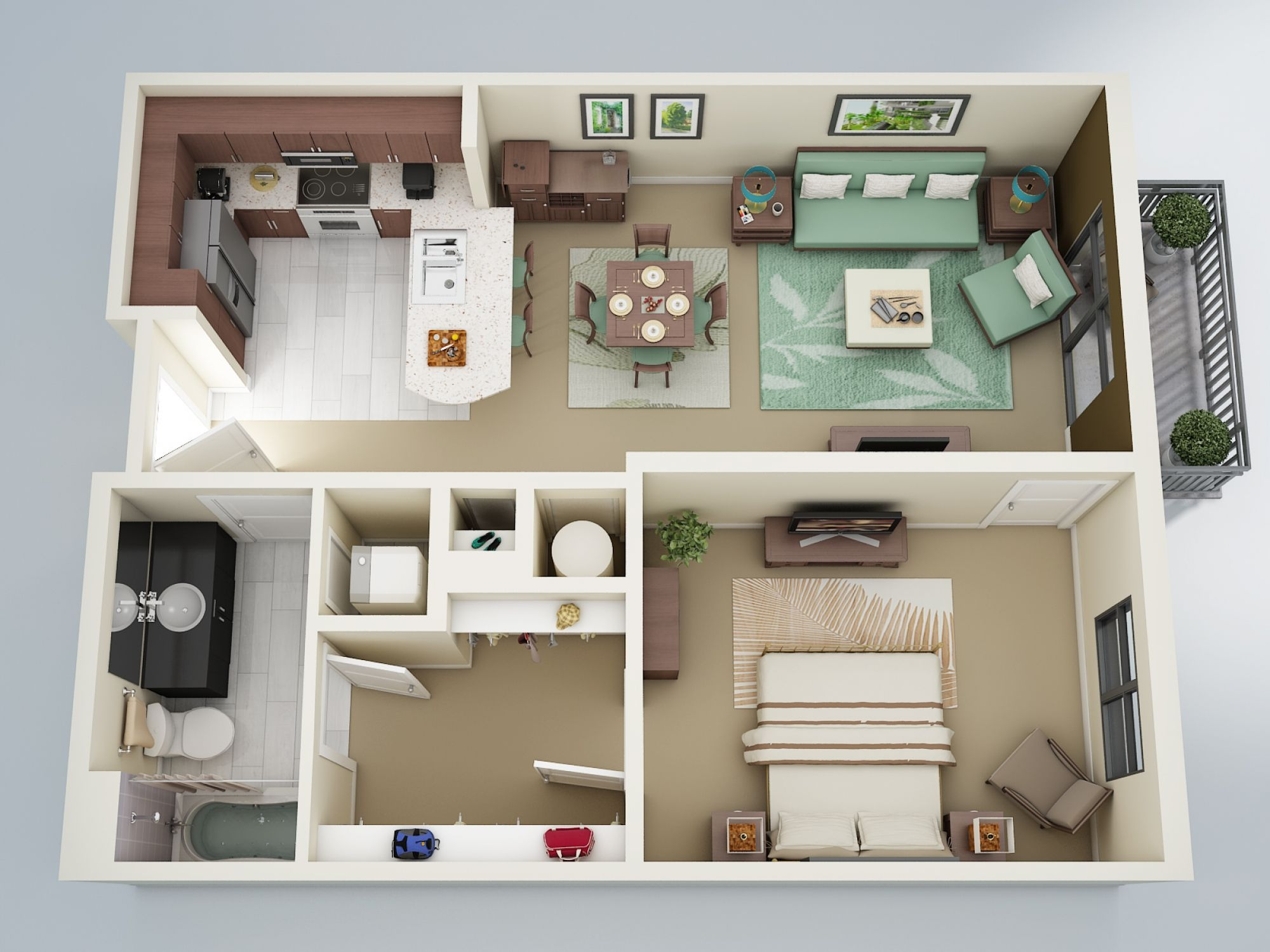 One Bedroom Apartment Layout