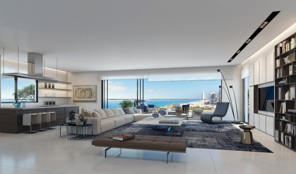 Here you'll find bright pops of blue amongst neutrals in an artfully designed penthouse. With a view of the ocean and an open floor plan, there's endless potential - but you won't need to do much. Modern furnishings, clean lines, and an efficient design means that you'll have everything you could need within just a few steps.