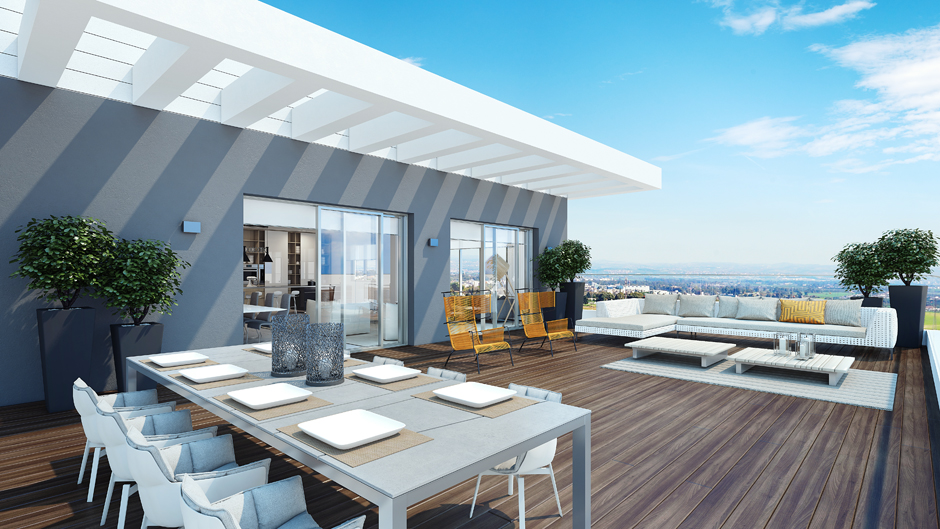 Modern Penthouse Outdoor Space Interior Design Ideas