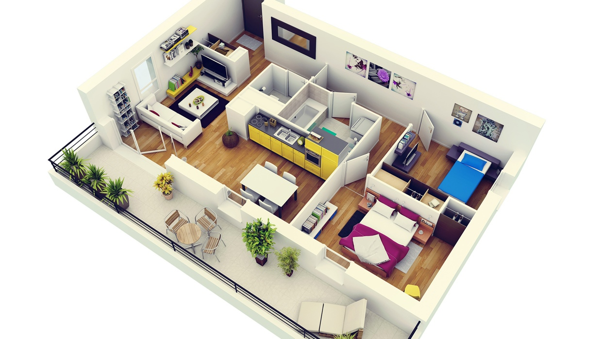 2 bedroom apartment house plans for Plan appartement 3d