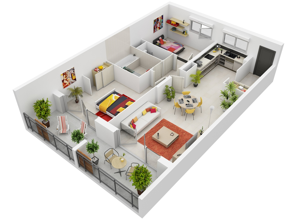 2 bedroom apartment house plans for House design plan 3d