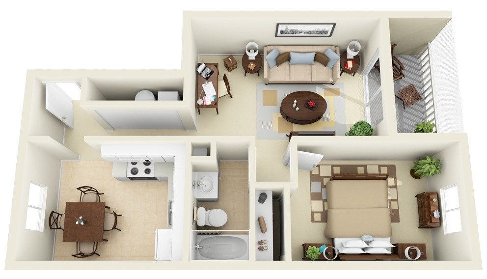 1 bedroom apartment house plans for One big room apartment