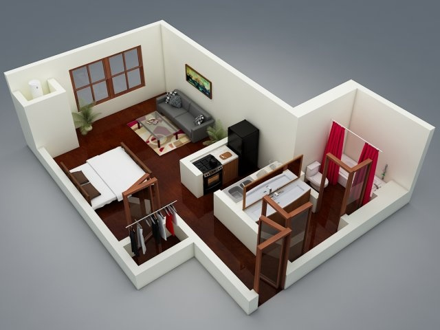 Studio apartment floor plans for Apartamentos muy pequenos