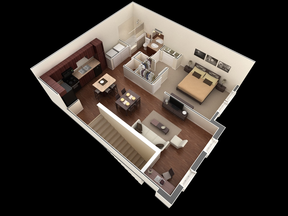1 bedroom apartment house plans for Walk up apartment floor plans