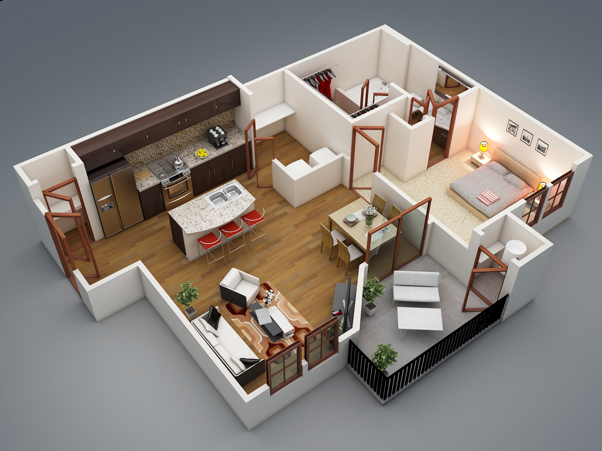 1 bedroom apartment house plans for 45m2 apartment design