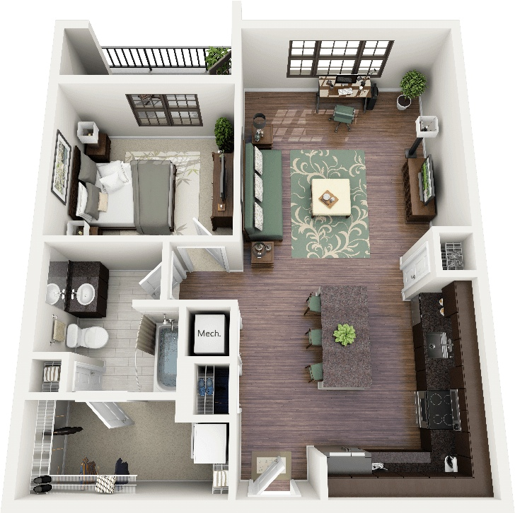 1 bedroom apartment house plans for One bedroom apartment layout