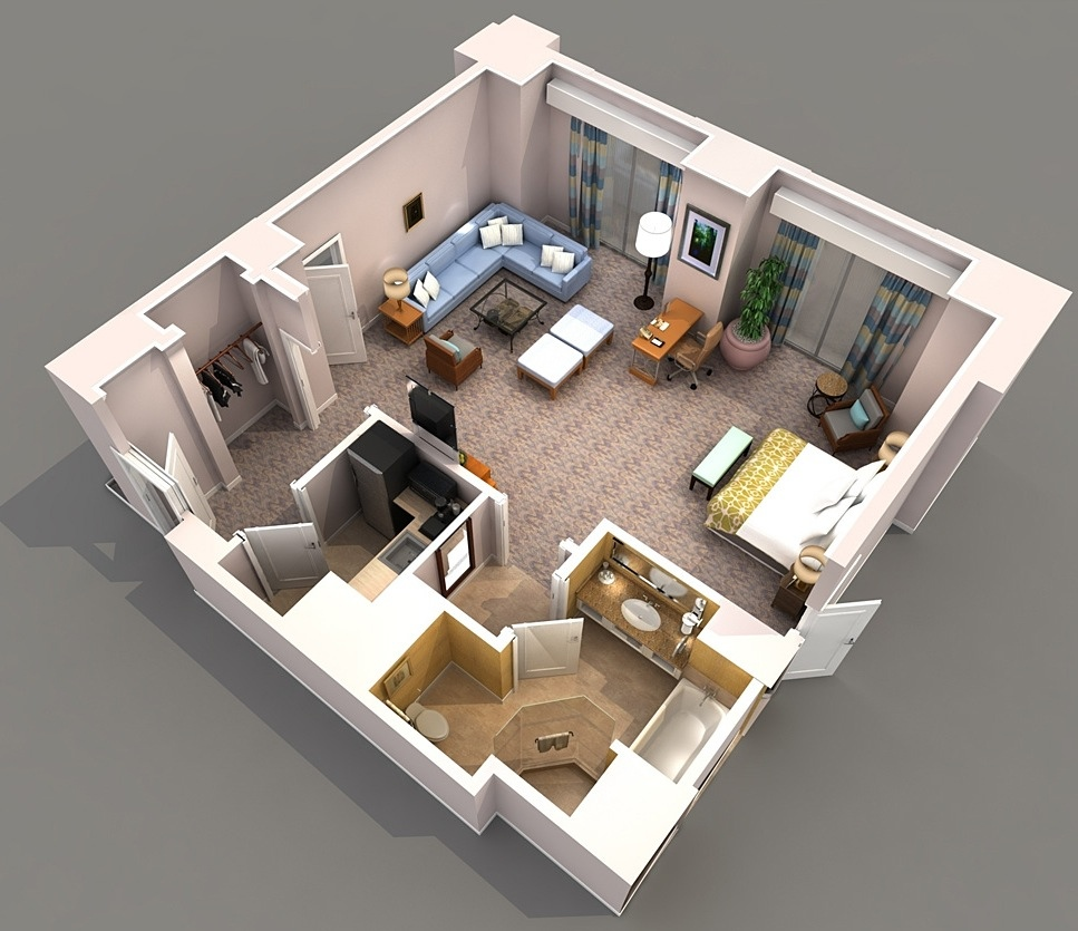 Studio apartment floor plans for Apartment 3d