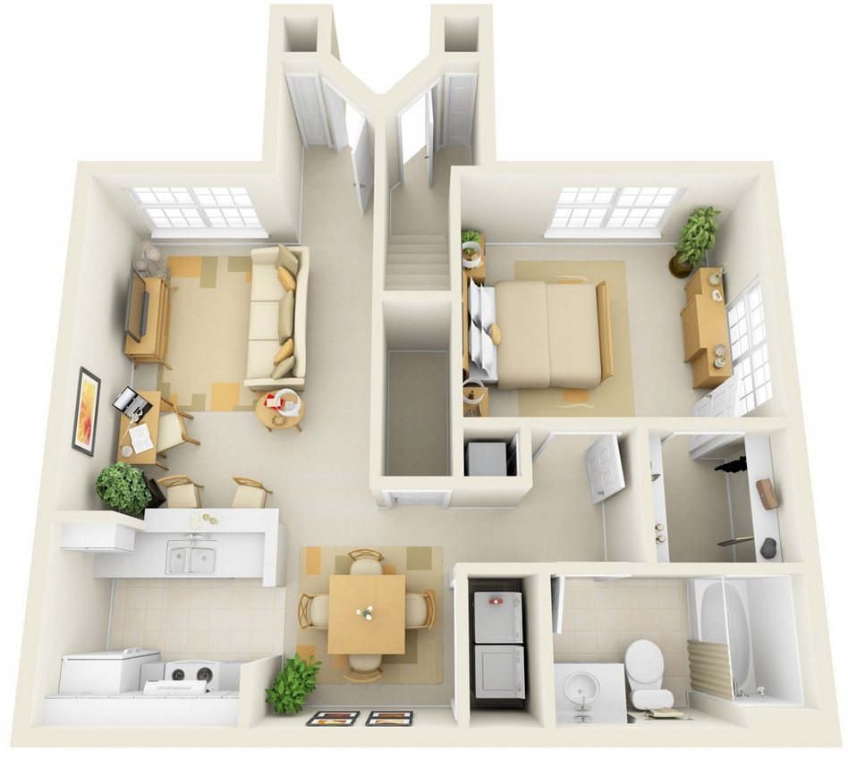 Paragon apartment 1 bedroom plan interior design ideas - One room apartment design plan ...