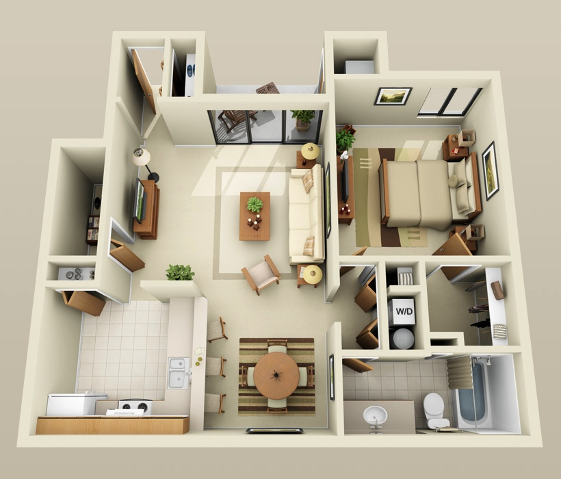 1 bedroom apartment house plans smiuchin for Single bedroom apartment design