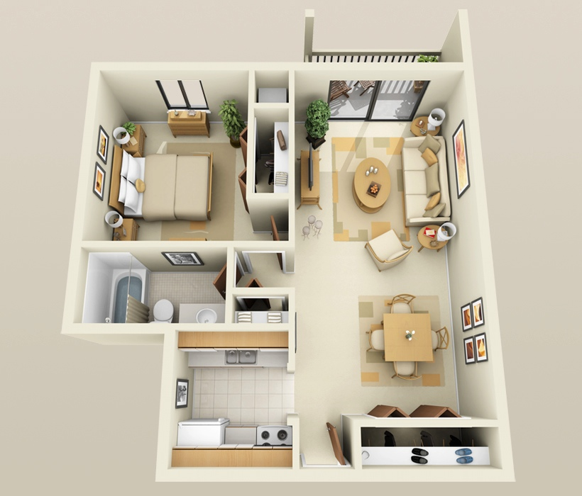 1 bedroom apartment house plans for Modern 2 bedroom apartment design