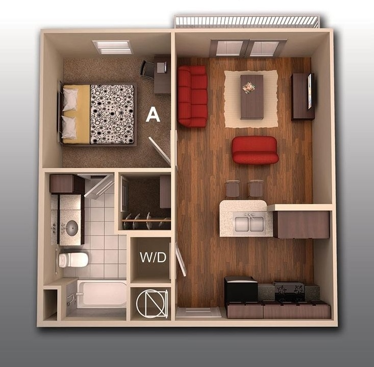 Home Design College Plans Alluring 1 Bedroom Apartmenthouse Plans Inspiration