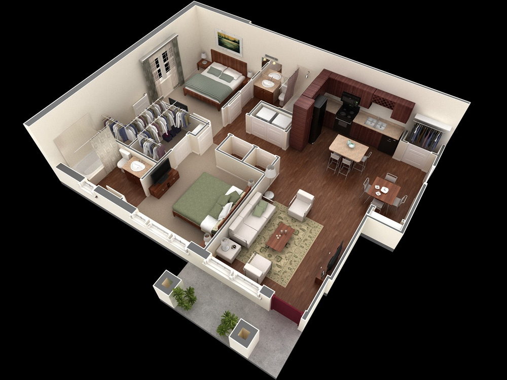 2 bedroom apartmenthouse plans - Simple House Plan With 2 Bedrooms 3d