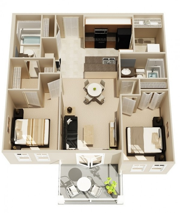 2 bedroom apartment house plans for 3d apartment floor plans