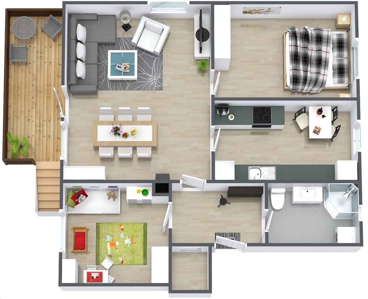 2 bedroom apartment house plans for Easy home plans