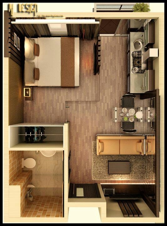 Dream studio apartment on pinterest apartment floor for Small efficiency apartment