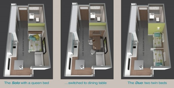 "This micro-apartment proposed by Berkley developer Patrick Kennedy, is also known as a ""SmartSpace"", featuring 220-square-feet of space to San Francisco, CA. This unit is all about usability, with amenities designed to serve multiple purposes with a small footprint."