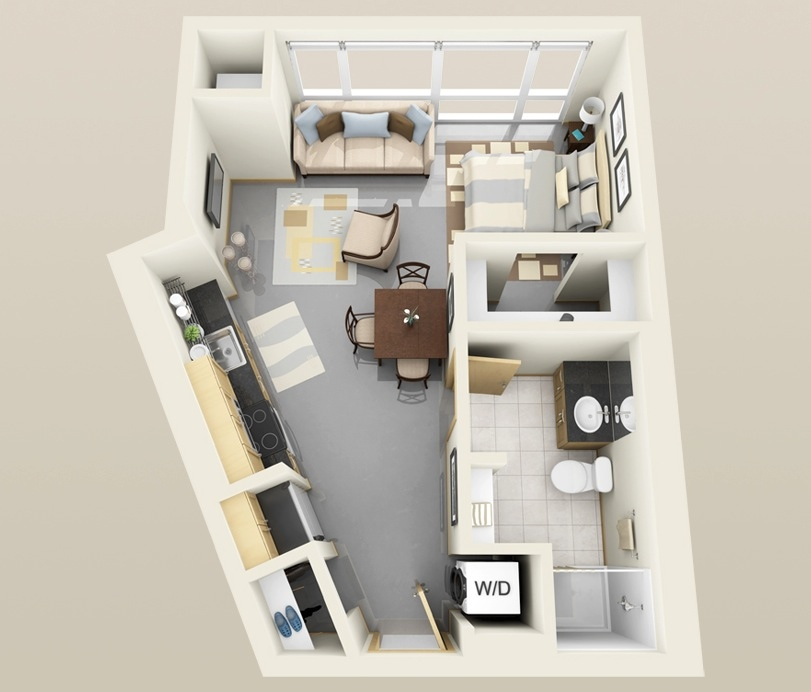 Studio Apartment Floor Plans 3d - emiliesbeauty.com -