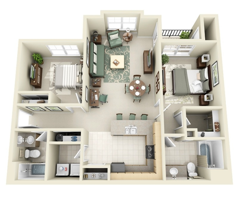 2 bedroom apartment house plans Master bedroom ensuite and wardrobe